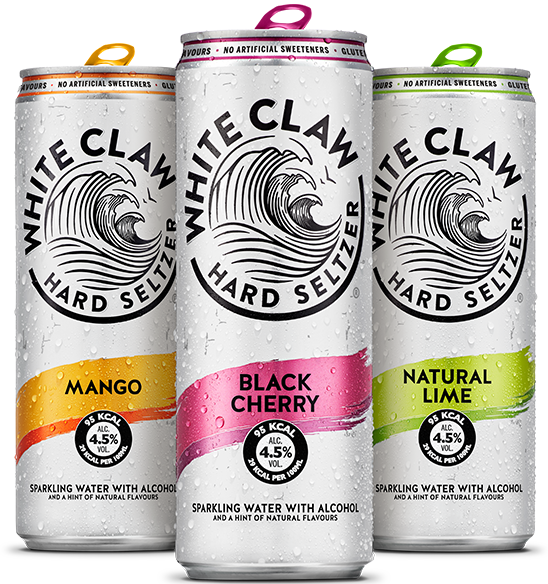 White Claw Hard Seltzer in flavors Mango, Lime and Black Cherry