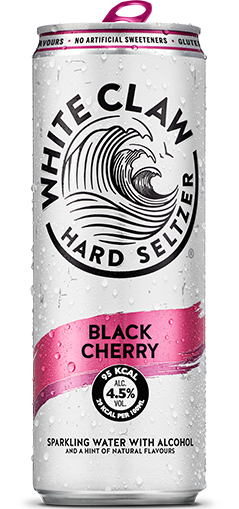 White Claw can in Black Cherry flavour